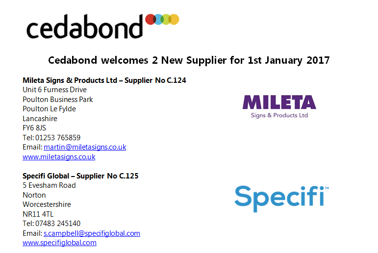 Two New Suppliers to kick start the New Year